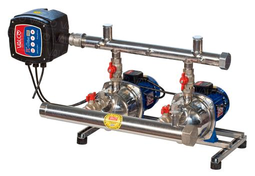 with 2 stainless steel horizontal multistage electric pumps