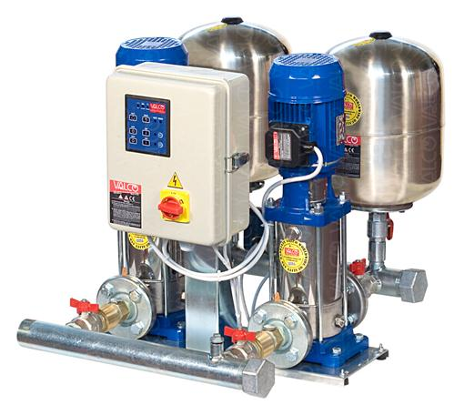 with 2 stainless steel vertical multistage electric pumps for water for human consumption