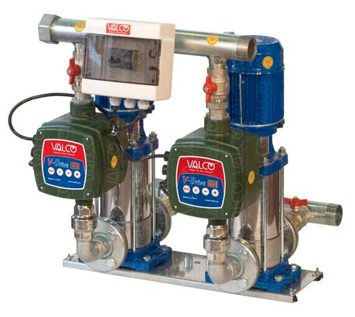 with 2 stainless steel vertical multistage electric pumps with V-Drive inverters