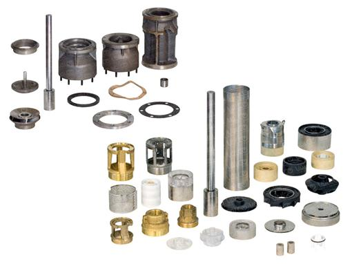 Pump components for submersible borehole pumps
