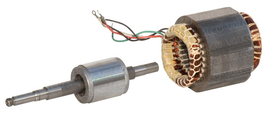 Valco s r l stator with winding and rotor with shaft for Add electric motor to drive shaft